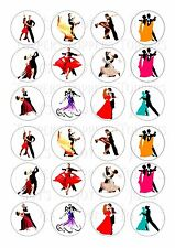 24 BALLROOM DANCING IN COLOUR TOPPER WAFER RICE EDIBLE FAIRY CAKE  TOPPERS