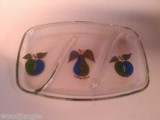 Vintage MID CENTURY MODERN GLASS  TRAY DISH GEORGES BRIARD PEAR APPLE RELISH