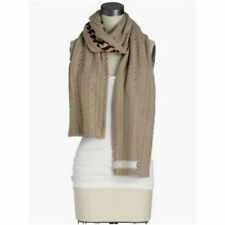 NWT Lucky Brand CRAFT AND CABLE SCARF Winter Tan Heather Reversible Stripe $69