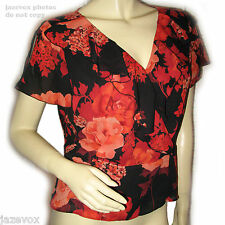 Womens RED BLACK FLORAL FLOWERS Print Pattern RUFFLE V-NECK Cap Sleeve TOP M Md