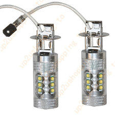 2pcs New H3 Pure White High Power 80W 16 SMD LED Car Foglight Light Bulb 12-24V