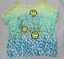 JUSTICE 8 Happy to be Me open shoulder sequin animal print bright top CUTE