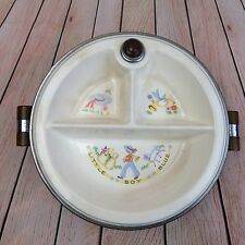 1940s Bartsch Vintage Child's Warming Plate Bakelite Boys Dish Chrome Porcelain
