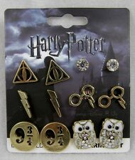 New Harry Potter 6 Pair Pr Post Insertion Earrings Deathly Hallows Owl 9 3/4