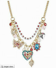 New Betsey Johnson multi-element double heart-shaped butterfly necklace