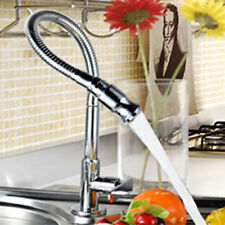 Flexible Chrome Brass Pull Out Kitchen Faucet Swivel Spout Single Cold Silver