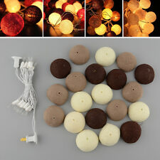 20 COTTON BALL FAIRY STRING LIGHTS LAMP BULB 3M FOR WEDDING PARTY PATIO DECOR
