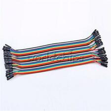 2X40PCS Dupont Wire Color Jumper Cable 2.54mm 1P-1P Male to Female 20cm UK