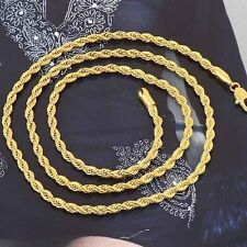 24'' mens Cool long stainless steel Necklace Gold Plated Rope Chain