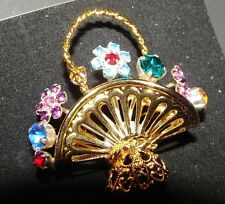 Vintage Brooches - 1940's Basket Brooch with tiny flower stones