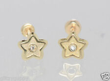 10k Yellow Gold 5mm Star Stud Earrings Screwbacks with Clear CZ Center Handmade