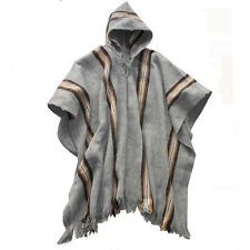 SILVER GREY HANDMADE PONCHO FOR MAN WITH HOOD/ Alpaca wool Bolivia