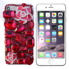 RHINESTONE BLING DIAMOND LUXURY DECO 3D FOR IPHONE 7 PLUS CASE RED ROSE #LCR001