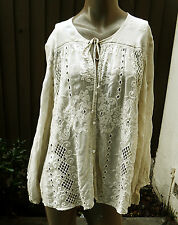 NWT JOHNNY WAS Sz L,XL+ Ivory Pieced Embroidered Oversized Blouse Top/Jacket
