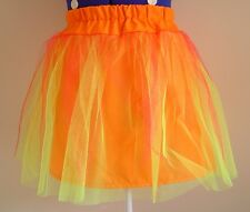 Florescent orange fairy mini skirt yellow flame UV net tutu UK8-14 Xmas party