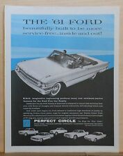 Vintage 1961 magazine ad for Ford & Perfect Circle Piston rings - convertible