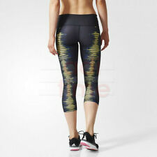 NWT ADIDAS WOMENS BLACK PRINT LOGO PERFORMER MIDRISE 3/4 LEGGING PANTS XL