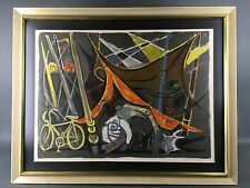 Abstract Mid Century Modernist Circus Bicycle Signed Lithograph Print Modern Art
