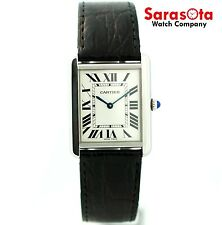 Cartier Tank Solo 3169 Stainless Steel Black Leather Swiss Quartz Unisex Watch