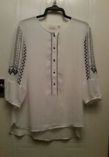 LADIES WHITE MIX EMBROIDERED BLOUSE, SIZE XL SUIT 20/22, EVA MENDES, WORK OFFICE