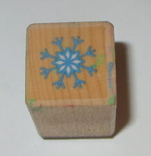 "Snowflake Rubber Stamp Winter Snow Mini 3/4"" Seasons Christmas Wood Mounted"