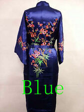 Charming Chinese Silk Women's Kimono Robe Gown Bathrobe/gown Wintersweet