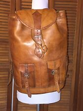 Vintage UNBRANDED Large Brown Leather Backpack Safari Camping Hiking Travel Bag