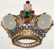 Vintage Famous Trifari Crown Pin/Brooch Jelly Belly & Various Gems