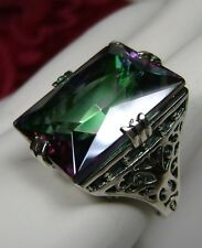30ct Big *Mystic Topaz* Solid Sterling Silver Filigree Ring Size 7 {In Stock}