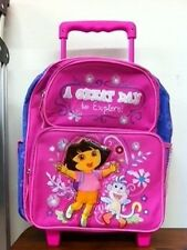"Dora 12"" Small Rolling BackPack "" A Great Day to Explore"" for Kids - BRAND NEW"