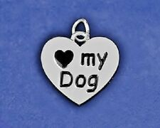 Sterling Silver Pl Paw Print Reversible Charm Pendant I Love My Dog Rescue Lover