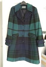 Womens Coat Navy & Green Tartan Wool Blend Size 16