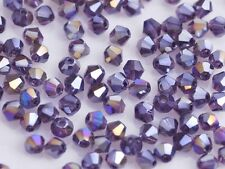 200 Wholesale 4mm Bicone Faceted Crystal Glass Loose Spacer Beads Blue Purple AB