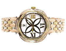 Ladies Aqua Master Tri Color Stainless Steel Genuine (.85ct) Diamond Watch W#342