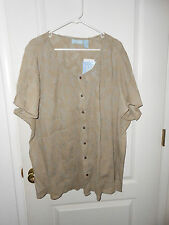 New Liz & Me Beige Tropical Leaf Pattern Button Crinkle Blouse Plus Size 4X NEW