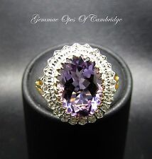 9ct Gold Oval 5.5ct Rose de France Amethyst & Diamond Cluster Ring Size P 4.7g