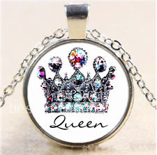 Royal Crown Queen Cabochon Glass Tibet Silver Chain Pendant  Necklace#Y8J