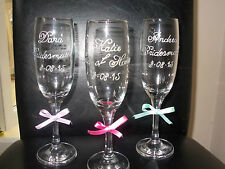 Hand Painted Personalised Champagne Glass Wedding,Bride, Groom Hen, Bridesmaid.