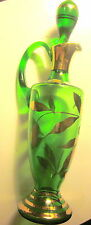 Vintage Bohemia Czechoslovakia Crystal Green Glass Gilt Decanter/Stopper/Cordial