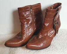 Bronx Stiefel Ankle Boots Gr. 41 cognac mittelbraun braun Biker Stiefeletten