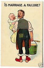 IS MARRIAGE A FAILURE ? - Husband - National Series #1983 - c1900s era postcard