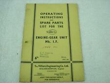 1948 VILLIERS ENGINE GEAR UNIT MK I F OPERATING INST SPARES PARTS CATALOG MANUAL
