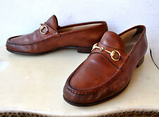 GUCCI Horsebit Brown Leather Loafers Shoes Sz 45 D Italy Authentic Rare Vintage