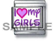 I LOVE MY GIRLS 9MM ITALIAN PHOTO CHARM LINK girl daughter mother mom family