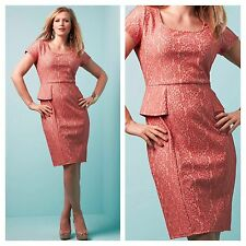 Simply Be Size 18 Coral Daisy Lace Peplum DRESS Occasion Party Evening New Fab