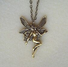 "Golden Fairy Pendant 28"" Chain Necklace in Gift Bag - Angel Goddess Faerie"