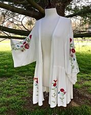NWT Kimono white ivory Bird Embroidered Floral Swingy Flounce Jacket Cardigan S