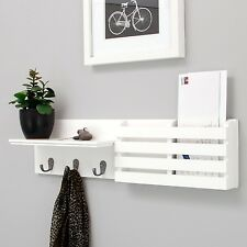 White Sydney Nexxt Wall Shelf + Mail Holder! Drop Zone Hooks Entryway Coat Rack