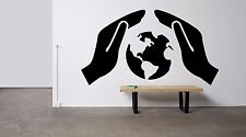 World Map Earth Planet Save Protect Hands Wall Vinyl Sticker Decal Decor F1714