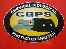 AUTOCOLLANT STICKER US ARMY CBPS PROTECTED SHELTER NBC ARMEE AMBULANCE